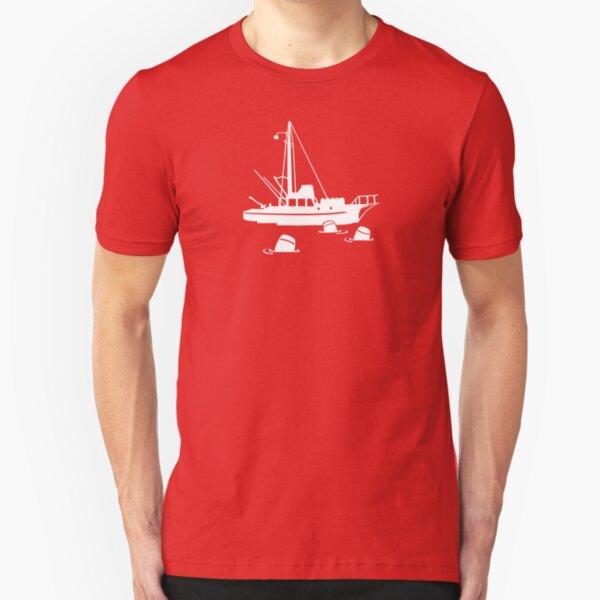 Shark Silhouette Fishing Boat Outdoors Great White Mako Fisherman Men/'s T-shirt