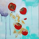 Falling Persimmons in Teal by Lydia Quinones
