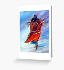 Surviving Another Day Native American Woman Mom Gathering Wood Winter Snow Snowy Female Storm Wilderness Strong Powerful Blizzard Boots Mother  Greeting Card