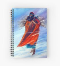 Surviving Native American Woman Mom Gathering Wood Winter Snow Snowy Female Storm Wilderness Strong Powerful Blizzard Boots Mother Jackie Carpenter Art Gift Gifts Indian Spiral Notebook