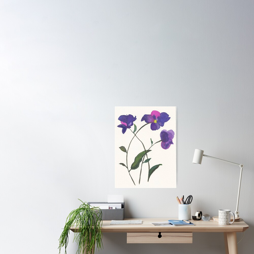 Purple Violets Watercolor Painting Poster