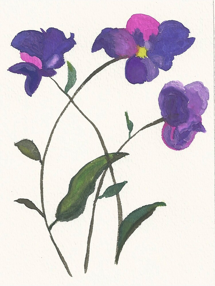 Purple Violets Watercolor Painting by irenebernhardt