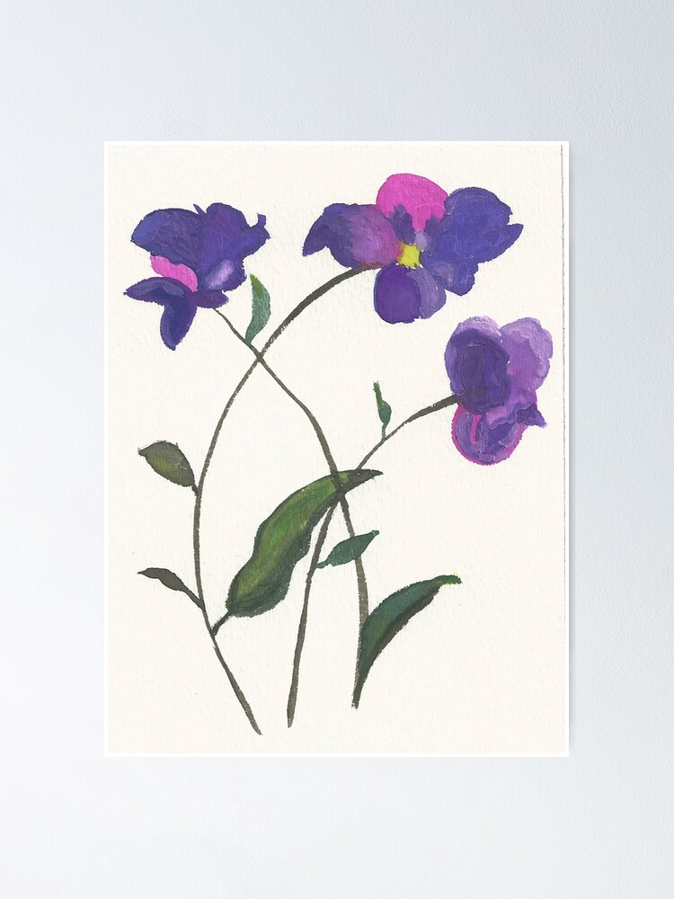 Alternate view of Purple Violets Watercolor Painting Poster