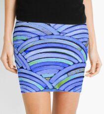 Curved Blue Tile Mini Skirt