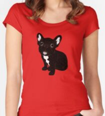Cute Brindle Frenchie Puppy Women's Fitted Scoop T-Shirt