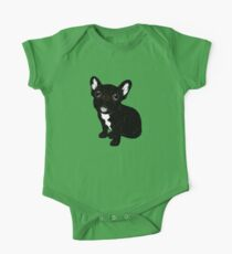 Cute Brindle Frenchie Puppy One Piece - Short Sleeve