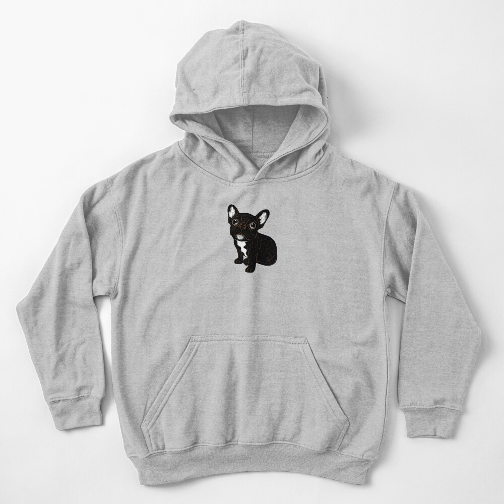 Cute Brindle Frenchie Puppy Kids Pullover Hoodie