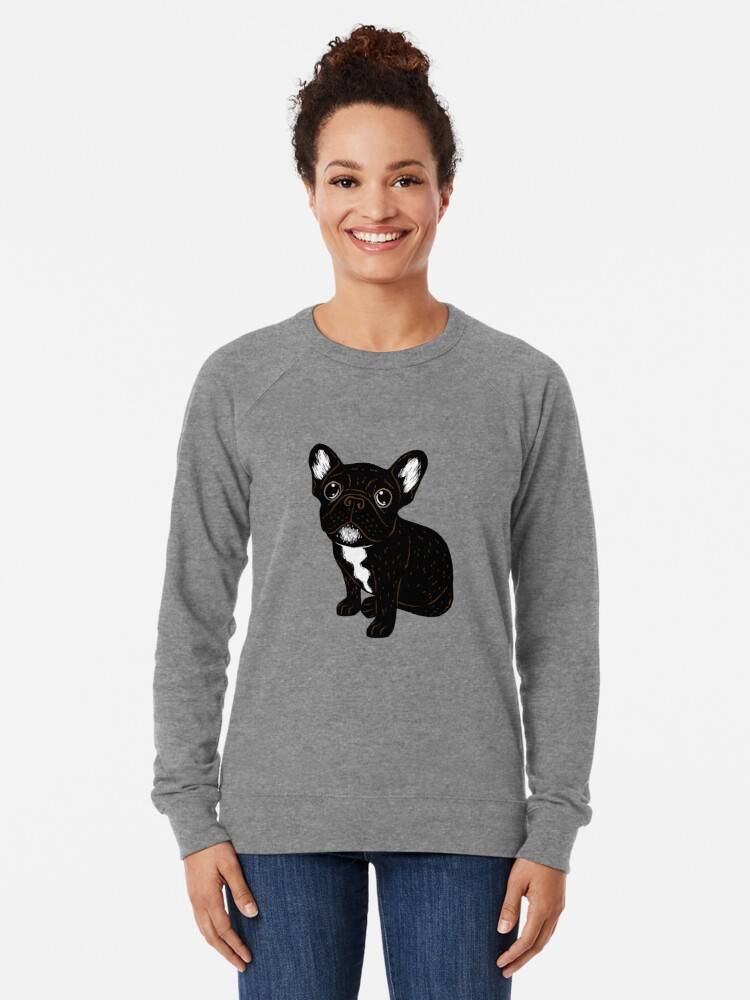 Alternate view of Cute Brindle Frenchie Puppy Lightweight Sweatshirt