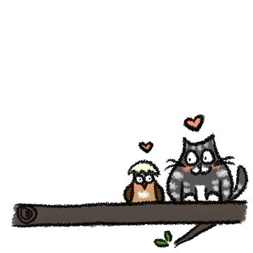 Baby Owl & Cat by emmaapple