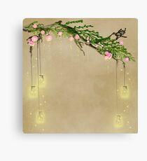 Sparkly Rustic Enchanting Mason Jars Fireflies Canvas Print