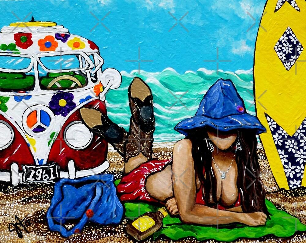 J C Beaching It In 1961 Ocean Sea Surfboard Surf Flowers Sand Beach Towel Waves Cowboy Boots Hat Hippie Sandy Girl Woman Figure Female VW Bus by Jackie Carpenter