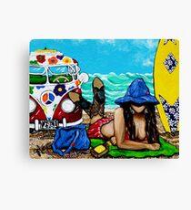 J C Beaching It In 1961 Ocean Sea Surfboard Surf Flowers Sand Beach Towel Waves Cowboy Boots Hat Hippie Sandy Girl Woman Figure Female VW Bus Canvas Print
