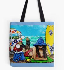 J C Beaching It In 1961 Ocean Sea Surfboard Surf Flowers Sand Beach Towel Waves Cowboy Boots Hat Hippie Sandy Girl Woman Figure Female VW Bus Tote Bag