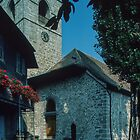 Front entrance of church of St Saphorin Lac Geneva Switzerland 19840816 0010  by Fred Mitchell