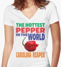 CAROLINA REAPER - THE HOTTEST PEPPER IN THE WORLD Women's Fitted V-Neck T-Shirt