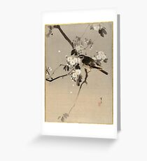 Watanabe Seitei Bird on a Flowering Branch Greeting Card