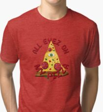 """ALL EYEZ ON MY PIZZA"" Illuminati Italy Fun T-Shirt Tri-blend T-Shirt"