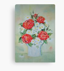 Daisies and Roses Canvas Print