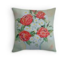 Daisies and Roses Throw Pillow