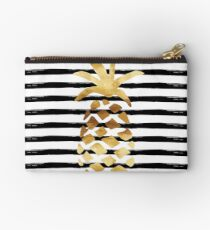 Pineapple & Stripes - Gold on Black and White Studio Pouch