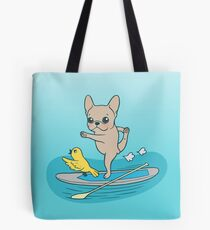 Frenchie practices her yoga poses on a stand-up paddle board Tote Bag