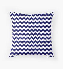 Navy Blue and White Chevron Zigzag Pattern Throw Pillow