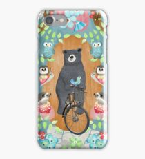 Bear riding bike with forest friends iPhone Case/Skin