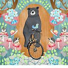 Bear riding bike with forest friends by studiocarrie