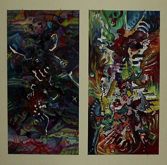 A Paradox Diptych (Oils and Encaustics)- by Robert Dye