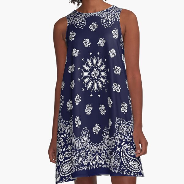 Bandana - Navy Blue -  A-Line Dress