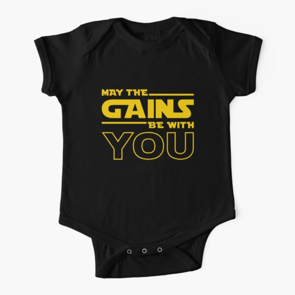 May The Gains Be With You Short Sleeve Baby One-Piece