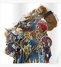 Póster La leyenda de Zelda - Aliento de lo salvaje - Ilustraciones de los campeones - Enlace y Zelda
