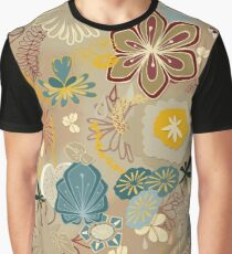 Scattered Paper-cut Effect Florals Pattern on Gold Graphic T-Shirt