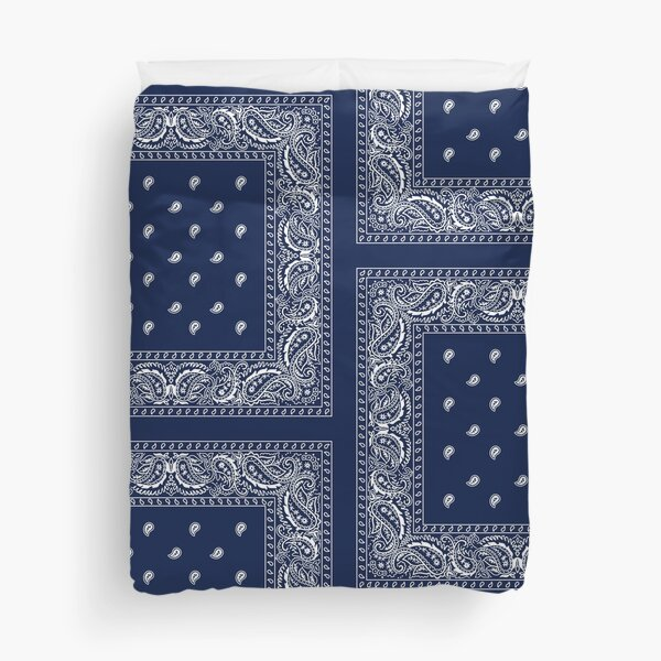 Bandana - Blue - Paisley Bandana   Duvet Cover