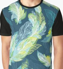 Greenery Romantic Vector Feather Pattern Graphic T-Shirt