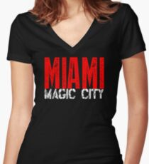 Miami Magic City 305 Wynwood South Beach Women's Fitted V-Neck T-Shirt