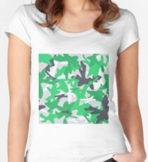 Camouflage military background. Seamless abstract pattern. Women's Fitted Scoop T-Shirt