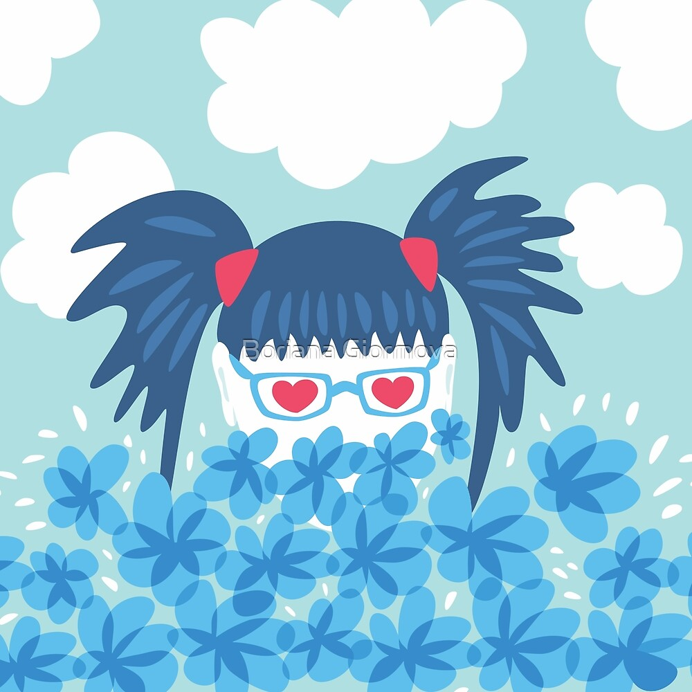 Geek Girl With Heart Shaped Eyes And Blue Flowers by Boriana Giormova