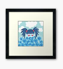 Geek Girl With Heart Shaped Eyes And Blue Flowers Framed Print