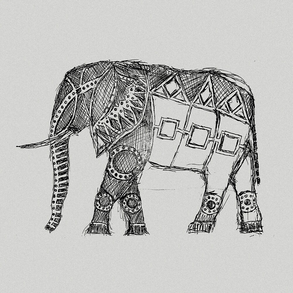 elephant sketch by Hinterlund