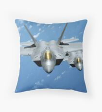 Two F-22 Raptors fly over the Pacific Ocean. Throw Pillow