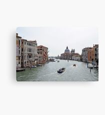 View of Canal Grande in Venice, Italy with colorful buildings and boats in the water Canvas Print