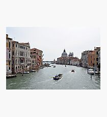 View of Canal Grande in Venice, Italy with colorful buildings and boats in the water Photographic Print