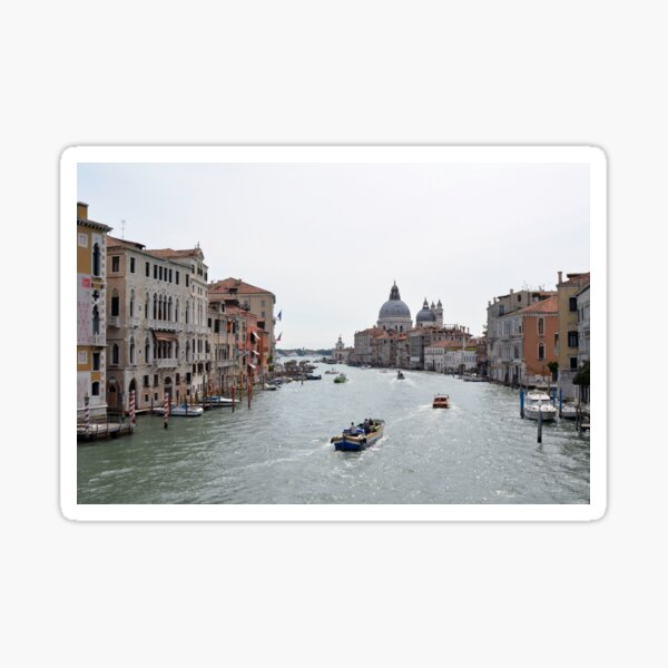View of Canal Grande in Venice, Italy with colorful buildings and boats in the water Sticker