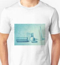 Simple drawing with geometric composition of basic volumes: cube, cone, sphere and cylinder  T-Shirt