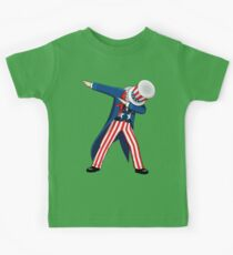 Funny Dabbing Uncle Sam 4th of July T-shirt Kids Tee