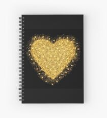 Happy Valentines day greeting card. Gold heart with glitter stars and particles.  Spiral Notebook