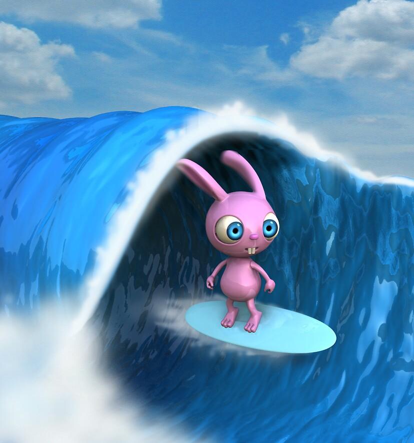 Surfer Bunny by johnnyz