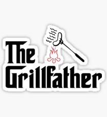 The Grillfather Barbeque and Grilling T-Shirt Sticker