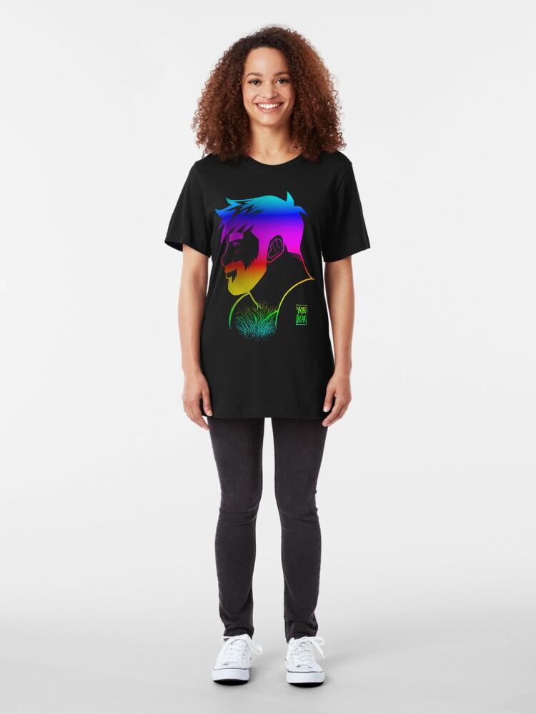 Alternate view of ADAM LIKES RAINBOWS - GAY PRIDE Slim Fit T-Shirt